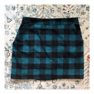 Wool-blend Plaid Skirt